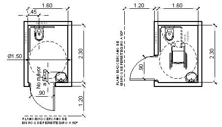 Secci n del proyecto de las instalaciones for Medidas aseo minusvalidos