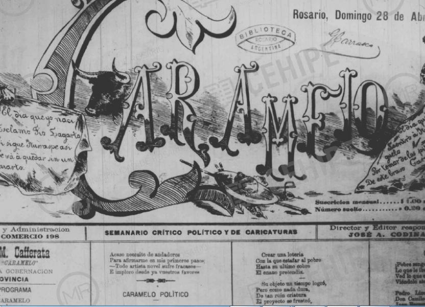 Portada del diario Caramelo año 1889