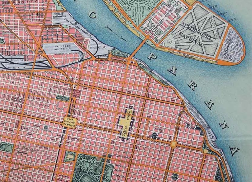 Detalle de plano del Plan Regulador de Rosario, propuesto en 1935.