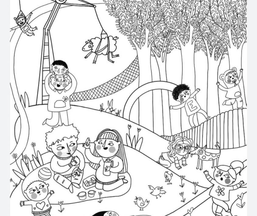 Paisajes para colorear del Tríptico de la Infancia