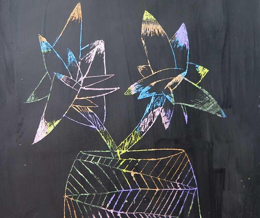 Dibujando en el patio de Musto