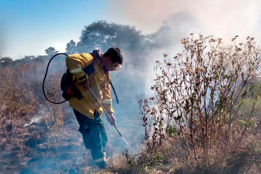 brigadistas apagando focos de incendios en las islas
