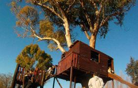 Casitas en los árboles en La Granja de la Infancia