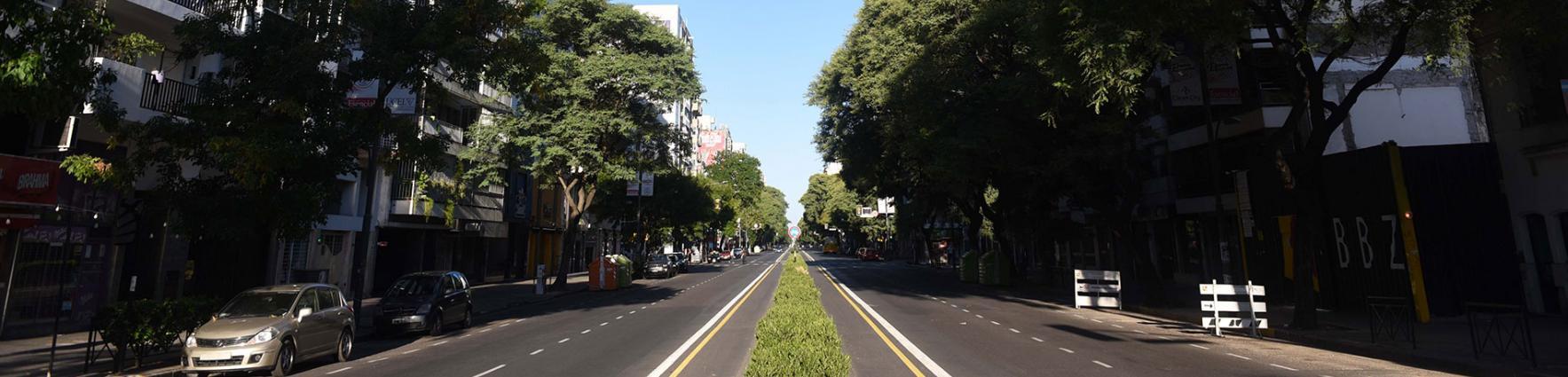 Avenida Pellegrini en aislamiento