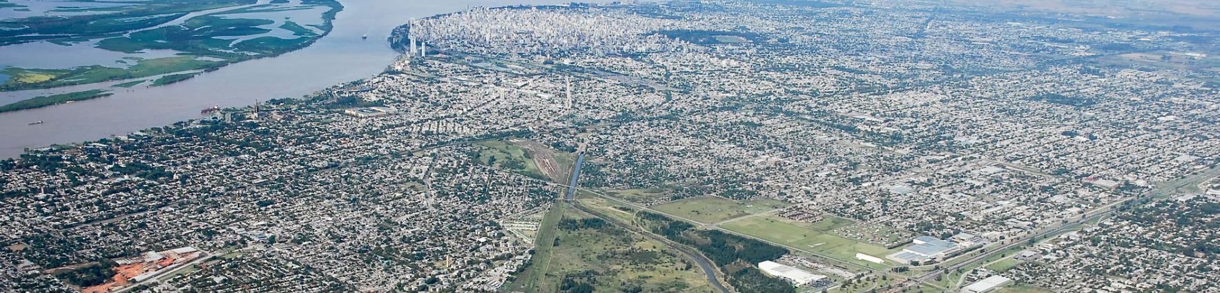 Vista aerea de rosario y area metropolitana